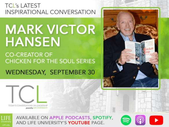 image announcing Mark Victor Hansen as the guest on the September 30, 2020 podcast